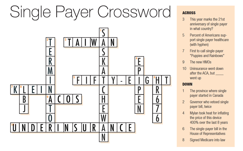 Single Payer Crossword Answers